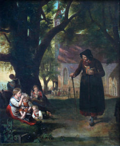 Youth and Old Age Meet Near a Church. (Kilde: Wikimedia commons)