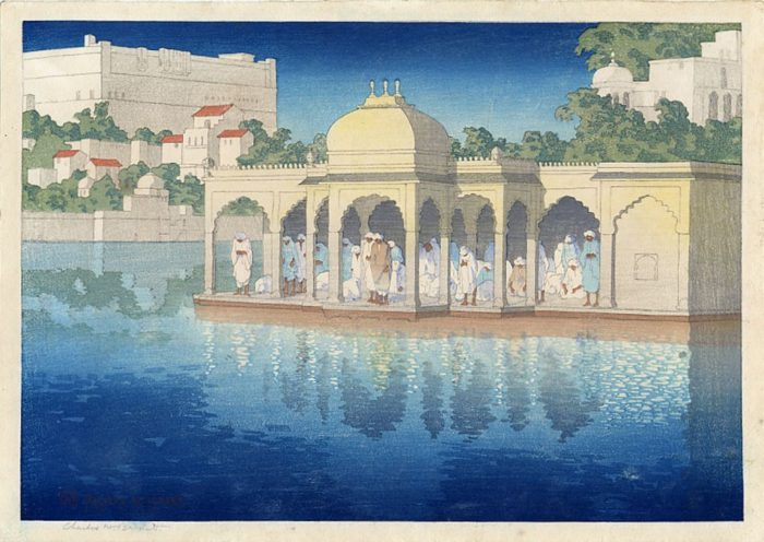 Prayers at Sunset, Udaipur, India, woodblock print by Charles W. Bartlett, 1919, (Kilde: Wikimedia commons)