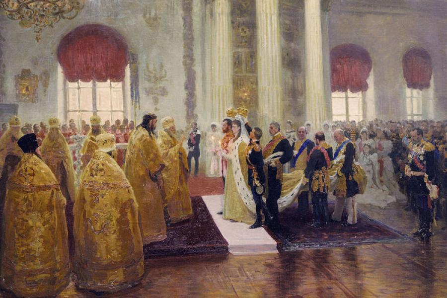 "Maleri med tittel ""Wedding of Nicholas II and Grand Duchess Alexandra Feodorovn"" av Ilya Repin."